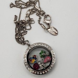 Origami Owl Crystals Locket Ball Chain 5 Charms